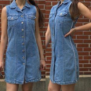 Vintage Sleeveless Denim Button Down Dress